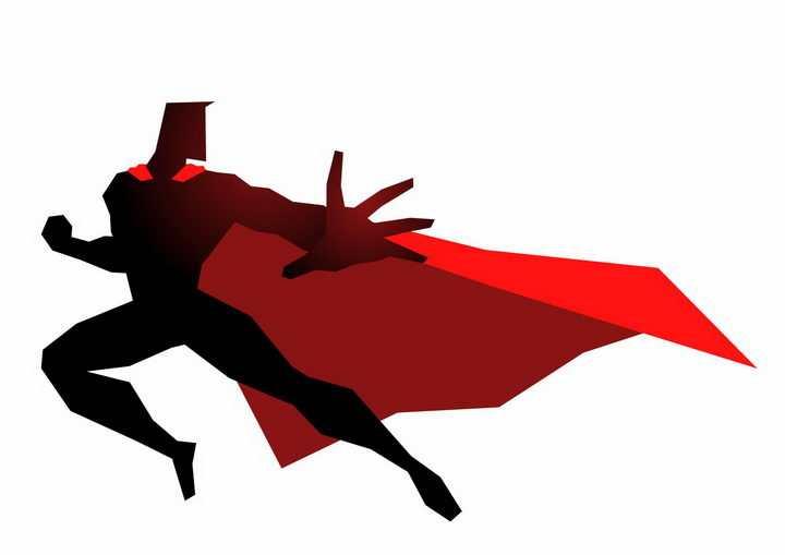 黑色插画风格身穿红色披风的漫画超人png图片免抠素材