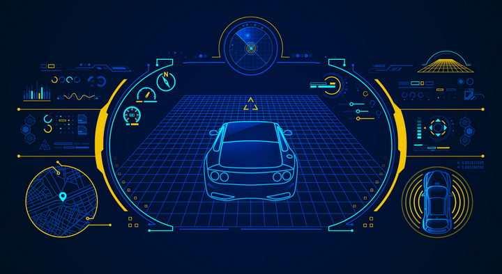 蓝色线条组成的超炫汽车仪表盘显示界面png图片免抠矢量素材
