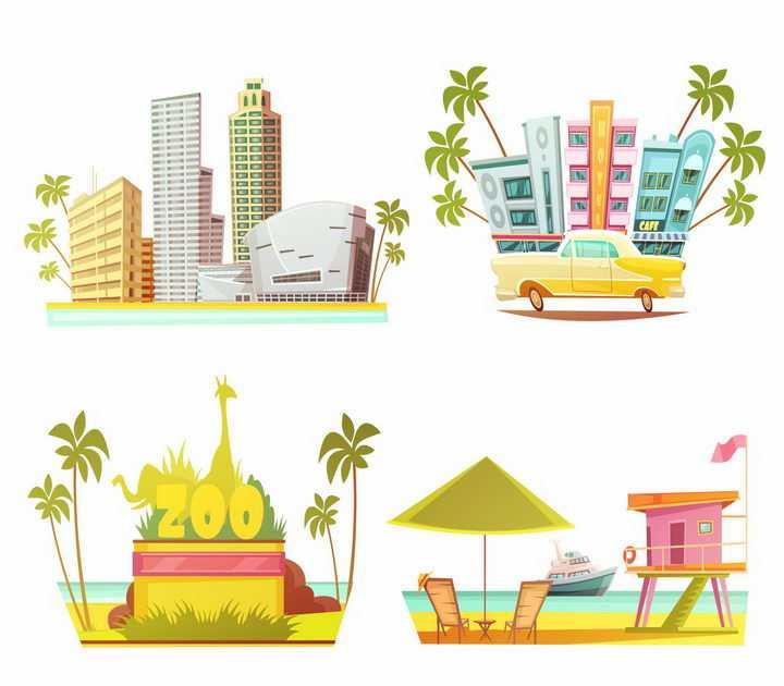 4款卡通风格高楼大厦动物园海滩等城市景色png图片免抠矢量素材
