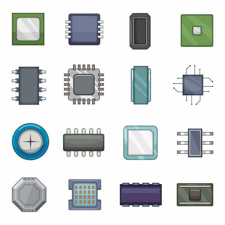 16款线条CPU集成电路电子元件芯片png图片免抠矢量素材