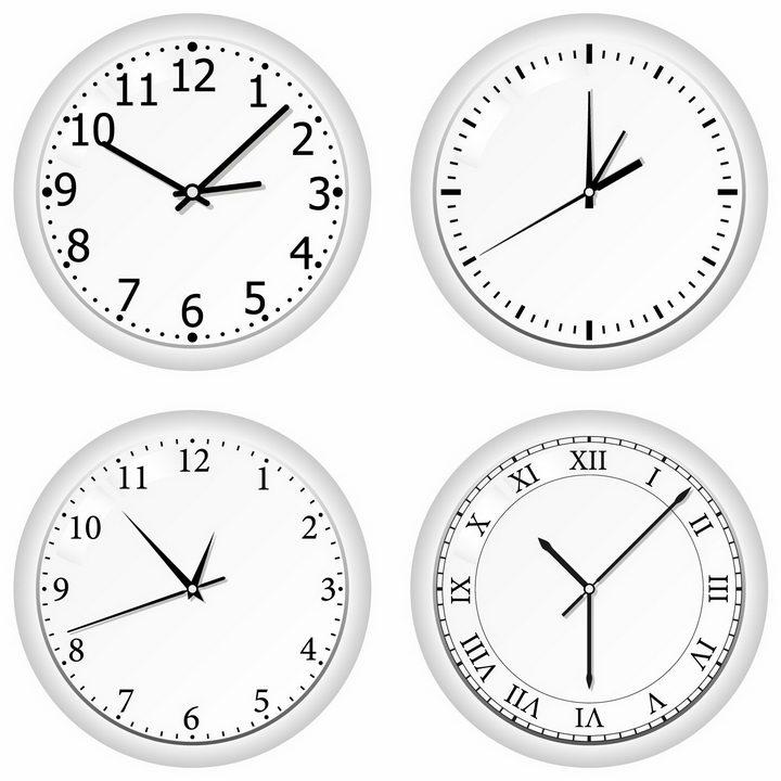 4款银白色的圆形时钟表盘具有不同风格的刻度png图片免抠矢量素材 生活素材-第1张