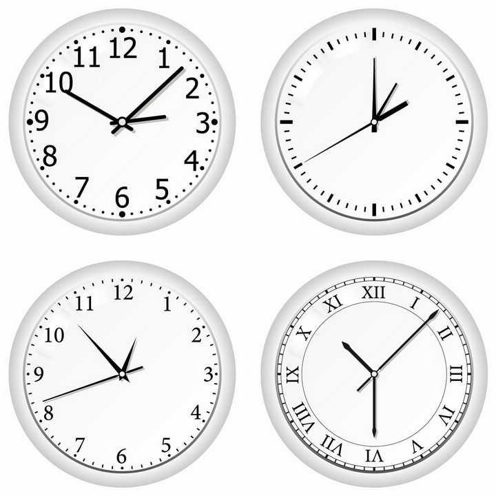 4款银白色的圆形时钟表盘具有不同风格的刻度png图片免抠矢量素材