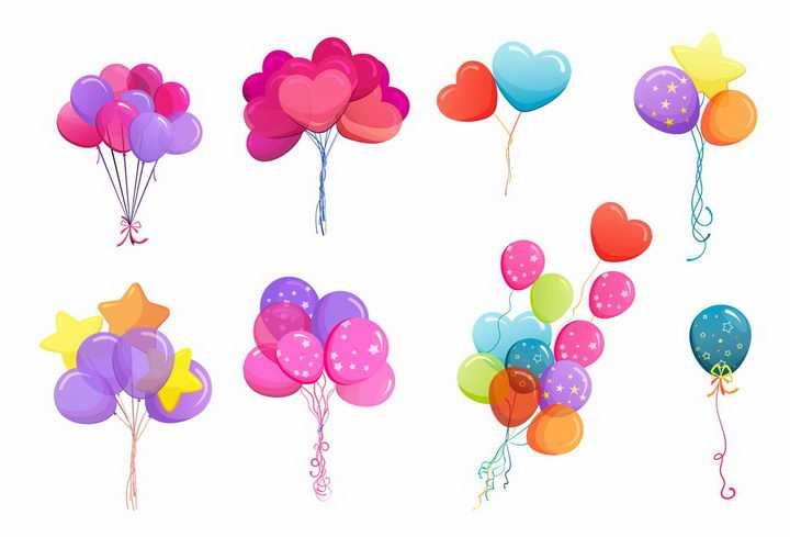 8款糖果色风格的气球心形五角星装饰气球png图片免抠矢量素材