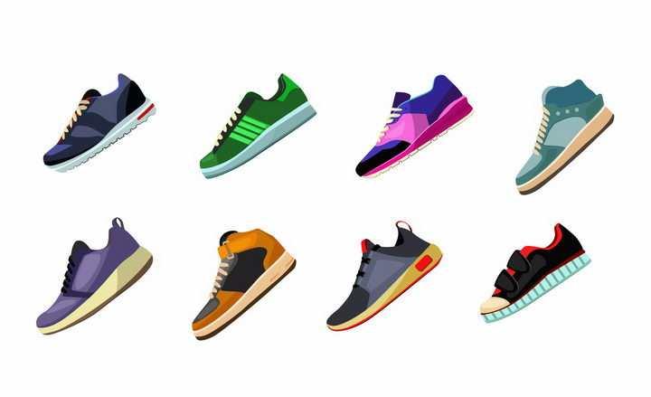 8款彩色的休闲鞋运动鞋跑步鞋png图片免抠eps矢量素材