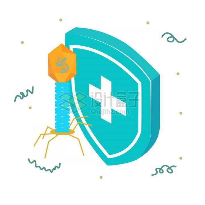 2.5D风格噬菌体病毒和蓝色防护盾牌png图片免抠素材