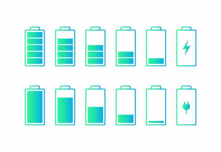 绿色渐变色风格充电电池电量显示png图片免抠eps矢量素材 IT科技-第1张