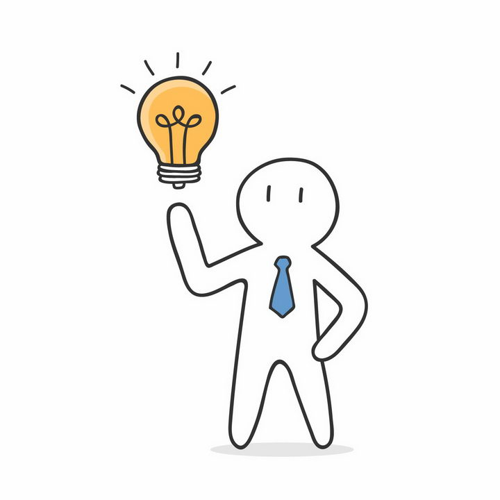 手绘线条小白人和灯泡有一个创意png图片免抠矢量素材 人物素材-第1张