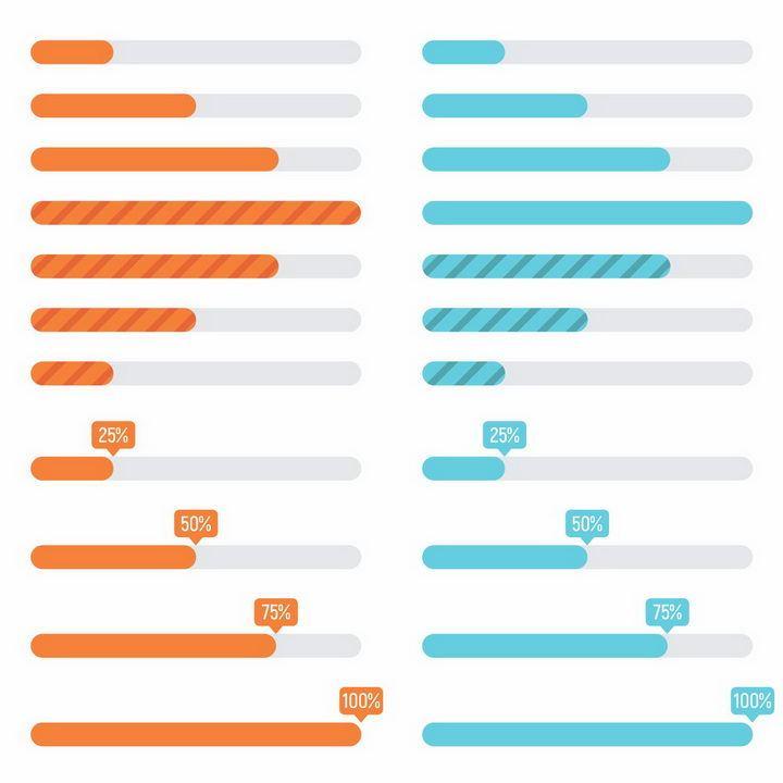 4款扁平化风格加载进度条loading设计png图片免抠eps矢量素材 UI-第1张