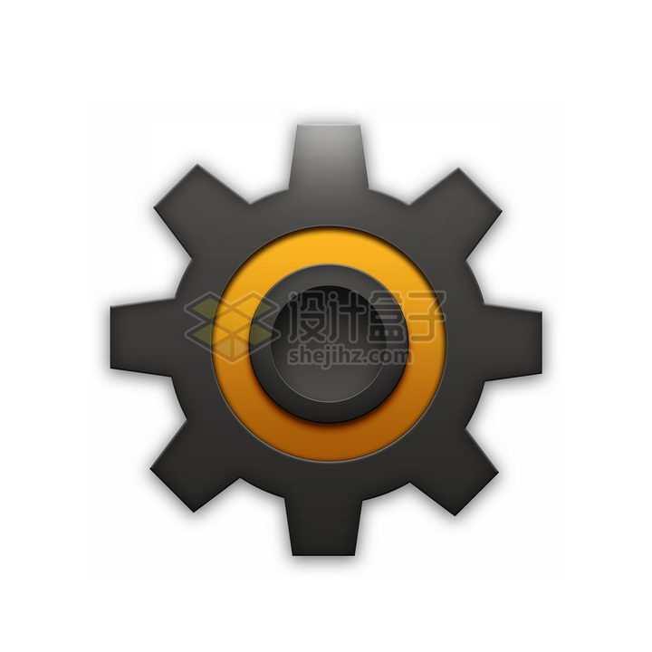 立体橙色圆环装饰黑色齿轮png图片免抠素材