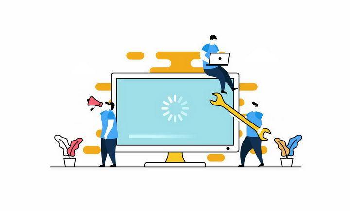 扁平插画风格坐在电脑显示器上的年轻人png图片免抠eps矢量素材 IT科技-第1张
