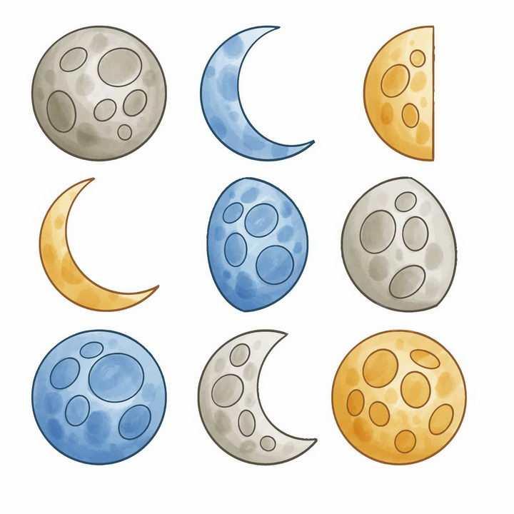 彩色手绘风格月亮月相变化png图片免抠矢量素材