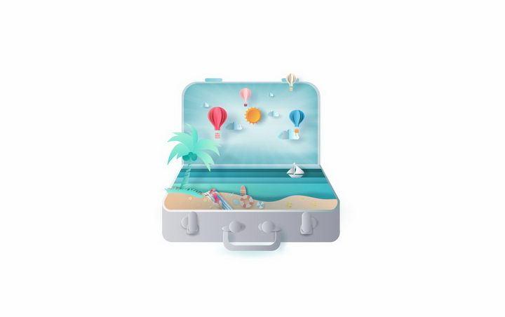 打开的行李箱中的海岛和大海旅游png图片免抠矢量素材 休闲娱乐-第1张