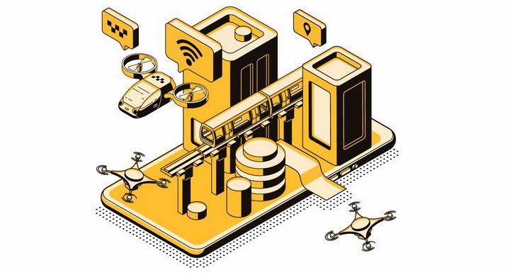 智能手机上的科幻飞行出租车各种未来交通方式png图片免抠矢量素材 军事科幻-第1张