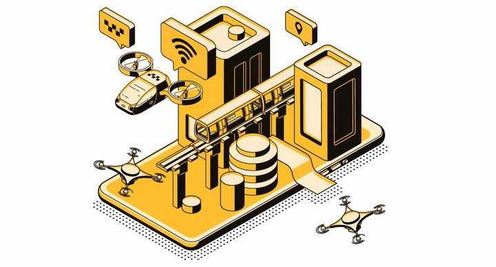 智能手机上的科幻飞行出租车各种未来交通方式png图片免抠矢量素材