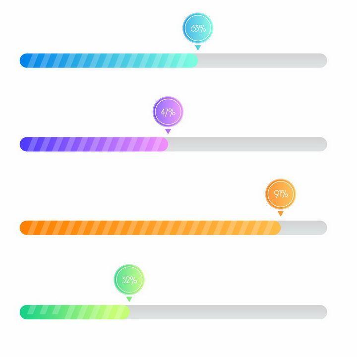 5款不同颜色的条纹加载进度条loading画面设计png图片免抠eps矢量素材 UI-第1张