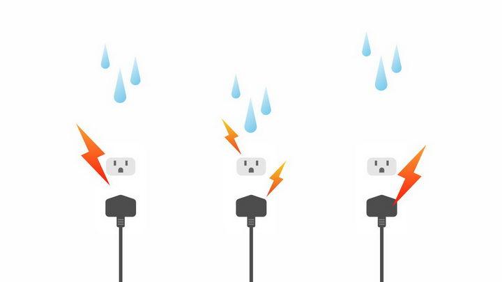 3款插座漏电小心触电安全用电png图片免抠eps矢量素材 生活素材-第1张