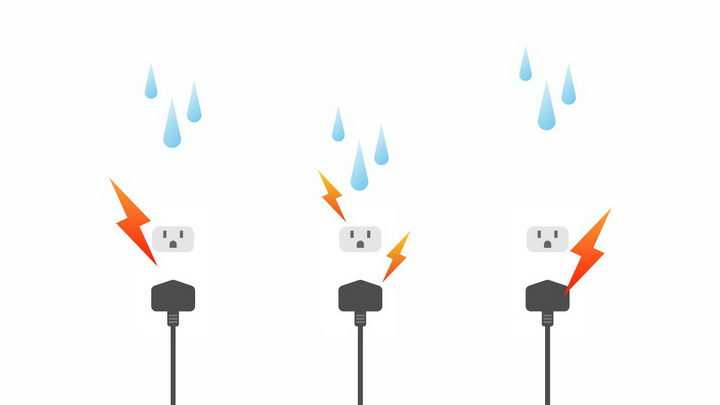 3款插座漏电小心触电安全用电png图片免抠eps矢量素材