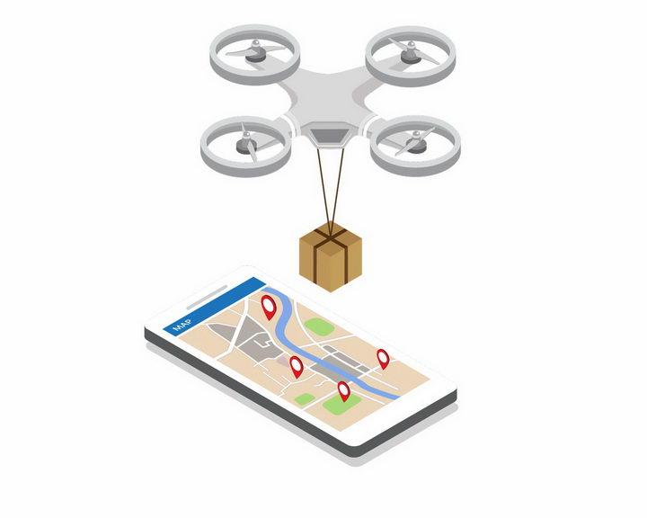 2.5D风格智能手机和无人机快递送货png图片免抠矢量素材 IT科技-第1张