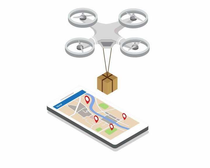 2.5D风格智能手机和无人机快递送货png图片免抠矢量素材