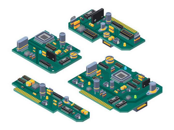 4款印刷电路板PCB板上的大规模集成电路png图片免抠矢量素材 IT科技-第1张