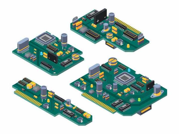 4款印刷电路板PCB板上的大规模集成电路png图片免抠矢量素材