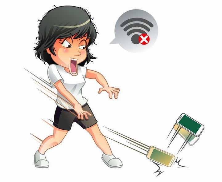 没有wifi信号愤怒摔掉手机的卡通女孩png图片免抠矢量素材