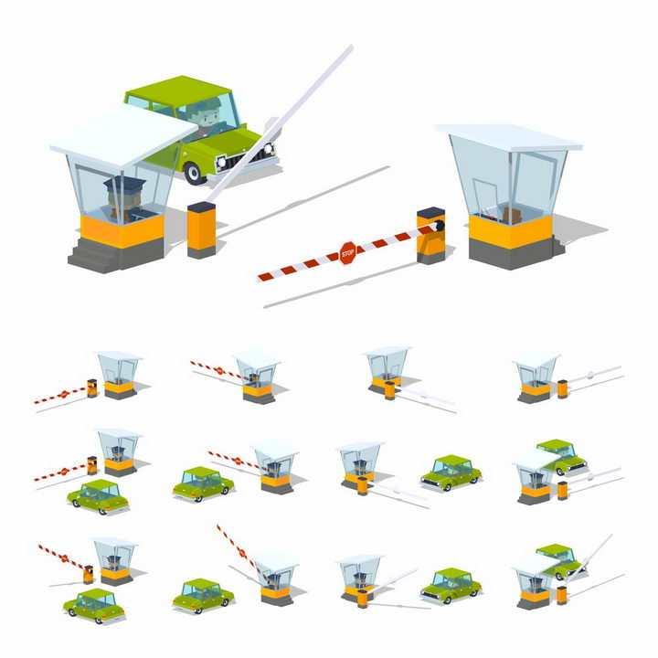 3D停车场保安亭和汽车升降杆车库道闸png图片免抠矢量素材