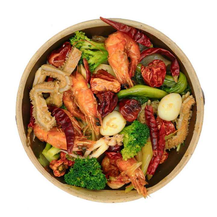 有虾猪肚鹌鹑蛋西兰花等食材的麻辣香锅png图片免抠素材