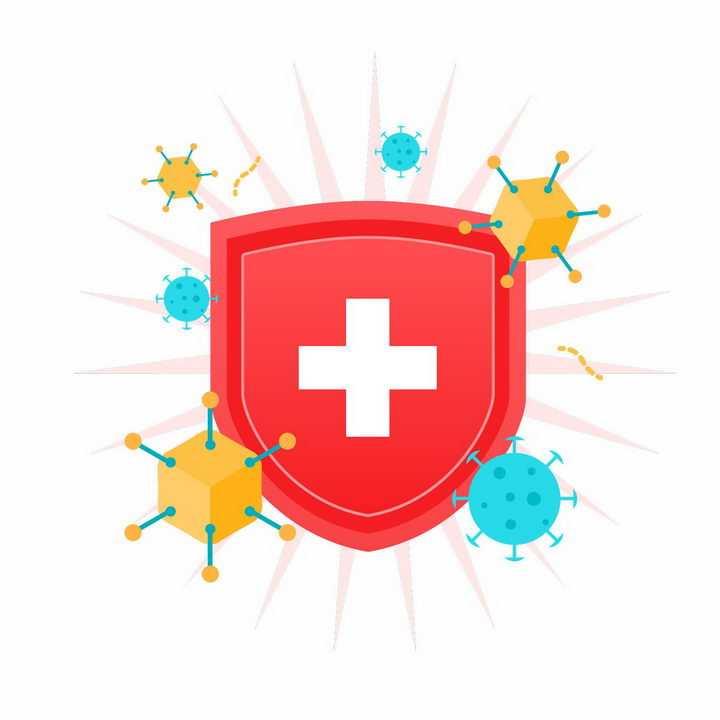 扁平化风格红色防护盾牌和病毒png图片免抠矢量素材