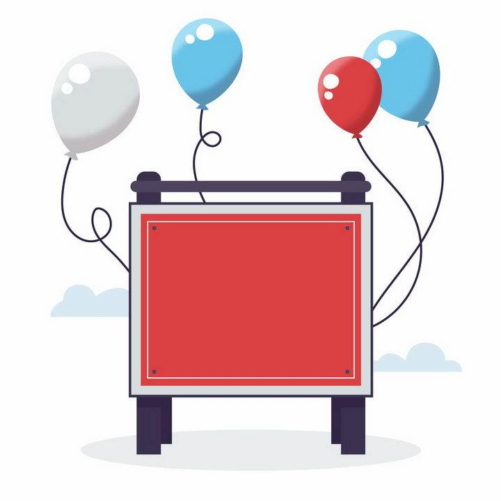 卡通广告牌文本框和气球装饰png图片免抠矢量素材