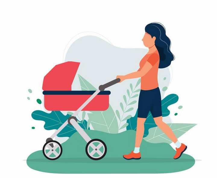 扁平插画风格推车婴儿车散步的年轻妈妈png图片免抠素材