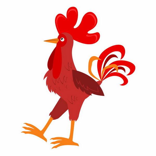 卡通红色的公鸡png图片免抠矢量素材 生物自然-第1张