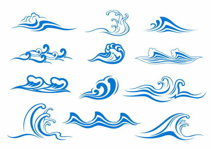 12款蓝色线条手绘海浪波浪图案png图片免抠eps矢量素材 线条形状-第1张