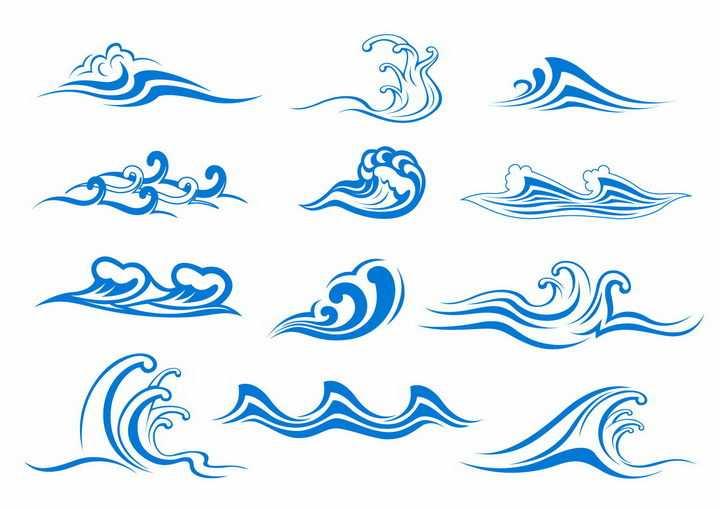 12款蓝色线条手绘海浪波浪图案png图片免抠eps矢量素材