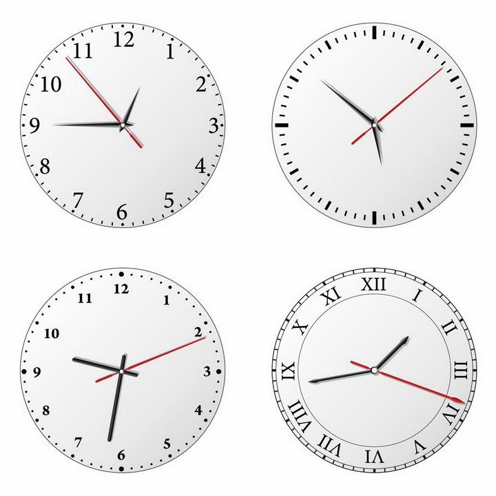 4款银灰色圆形表盘的钟表时钟png图片免抠矢量素材 生活素材-第1张