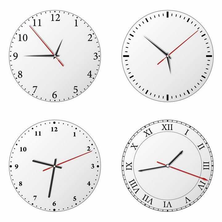 4款银灰色圆形表盘的钟表时钟png图片免抠矢量素材