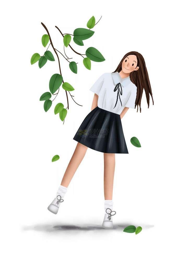 彩绘风格绿色树叶下的水手服校服短裙青春甜美女孩png图片免抠素材
