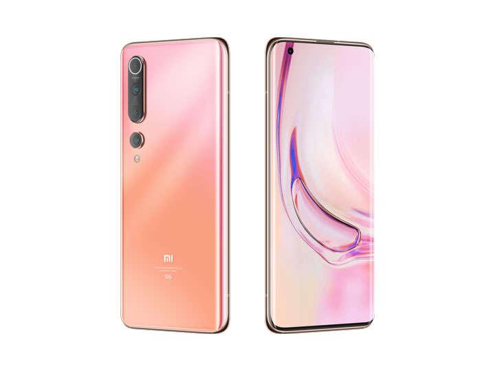 斜视角的粉色小米10Pro手机png图片免抠素材