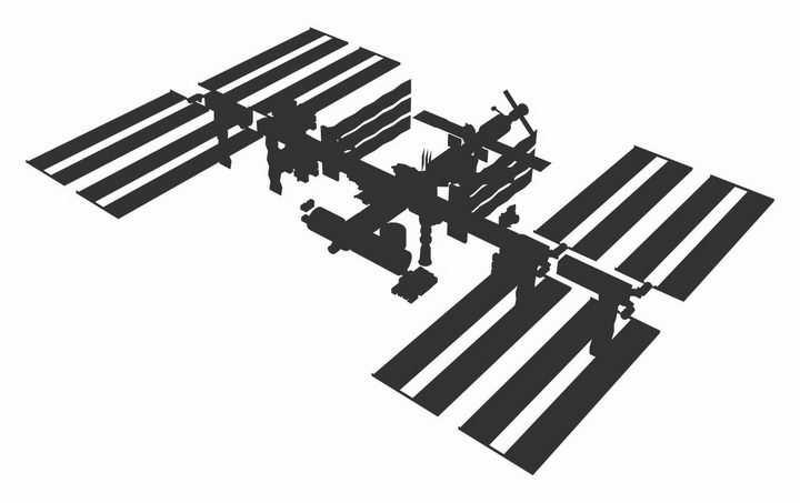 深灰色国际空间站剪影png图片免抠素材