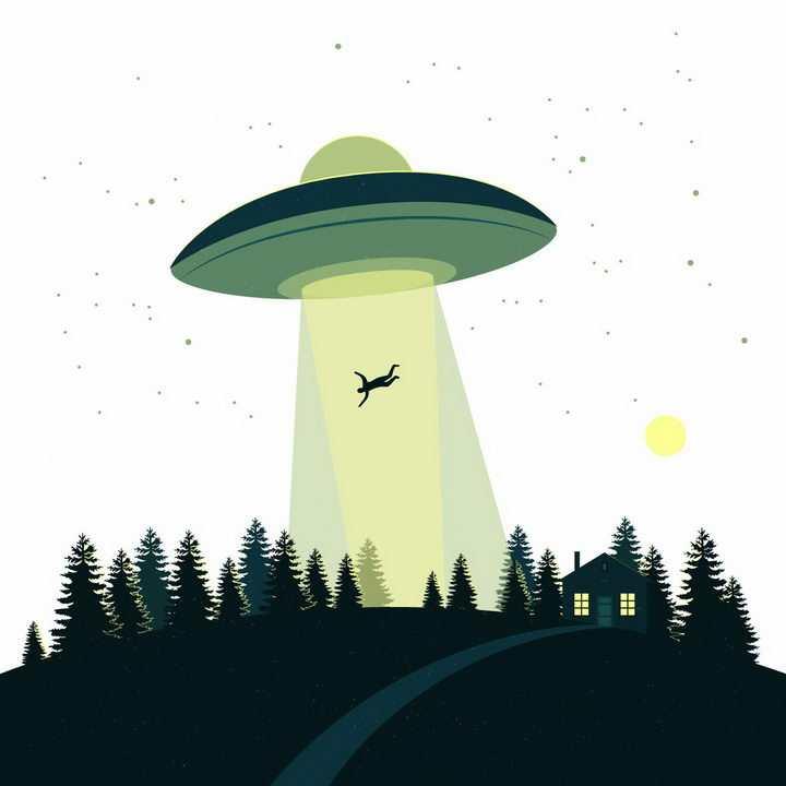 卡通绿色不明飞行物UFO飞碟绑架了一个人事件png图片免抠矢量素材