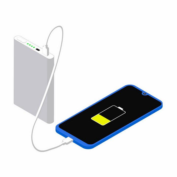 银白色的充电宝移动电源正在为手机充电png图片免抠eps矢量素材 IT科技-第1张
