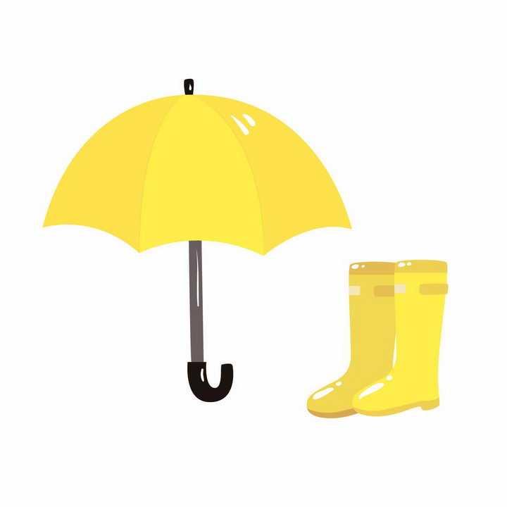 黄色卡通雨伞和雨靴雨鞋png图片免抠矢量素材