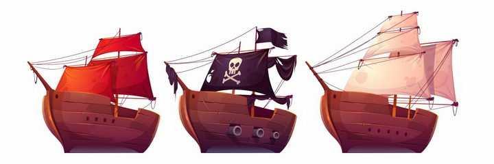 三种帆布颜色的卡通海盗船帆船png图片免抠矢量素材