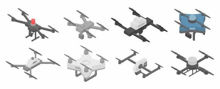 8款2.5D风格四轴飞行器无人机航拍小飞机png图片免抠矢量素材