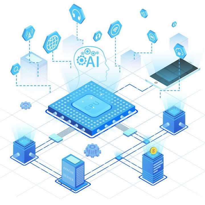 2.5D科幻风格蓝色人工智能处理器和云计算技术png图片免抠ai矢量素材