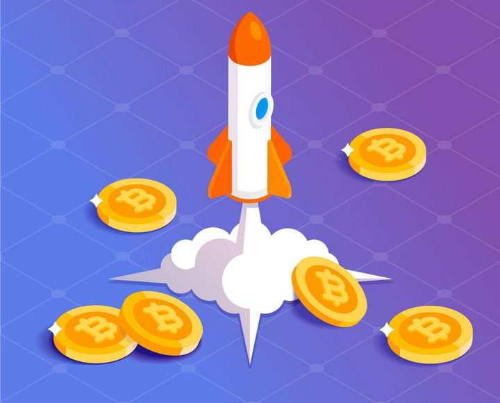 比特币金融成长体系火箭发射png图片免抠矢量素材