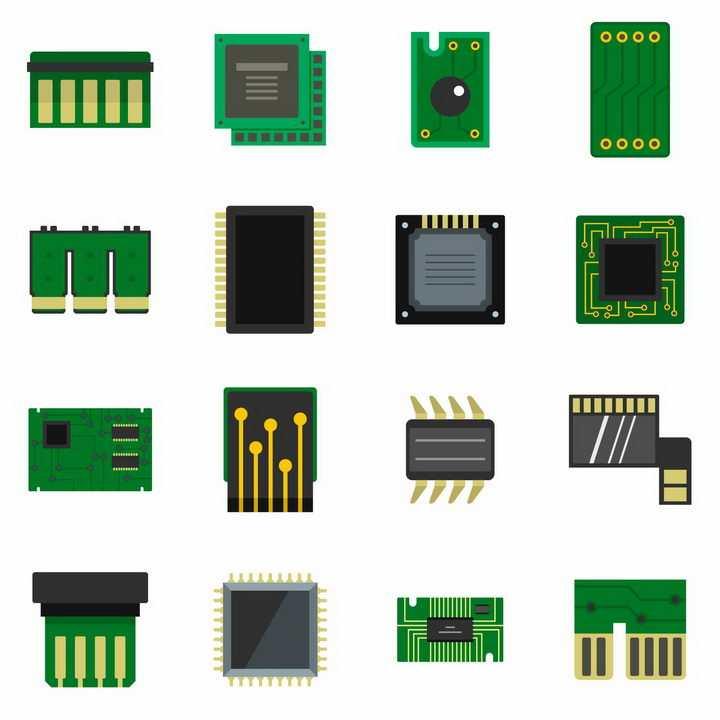 16款处理器印刷电路板PCB板图标png图片免抠矢量素材