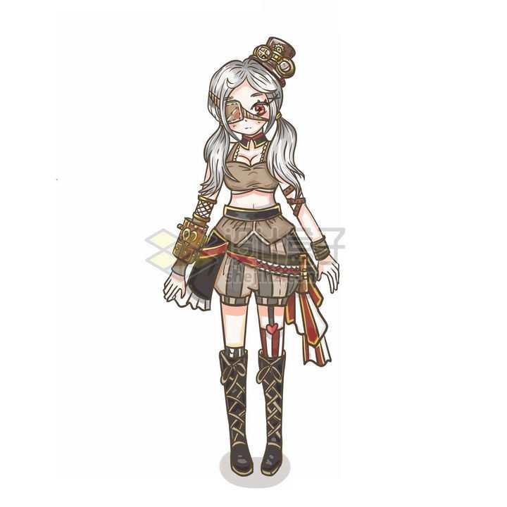 蒸汽朋克风格卡通二次元少女png图片免抠素材