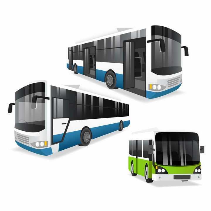 蓝色和绿色公交车汽车png图片免抠矢量素材