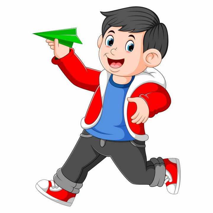 卡通小男孩手拿纸飞机准备扔出滑翔纸飞机png图片免抠矢量素材